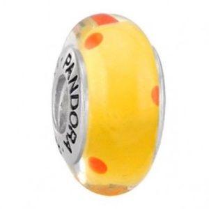 Pandora Murano Glass Bead Yellow Orange Polka Dot